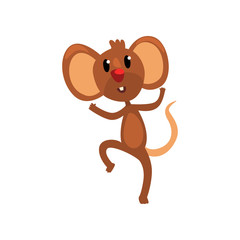 Cute brown happy mouse jumping, funny rodent character cartoon vector Illustration isolated on a white background