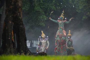 [KHON HANUMAN RAMAYANA] Hanuman is character in thaland. Art culture Thailand Dancing in mask, Pantomime performances action of Thailand in Literature Ramayana.