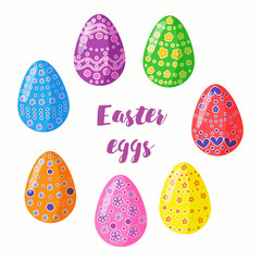 Easter eggs set of stickers. Multicolored decorative elements for festive decor.