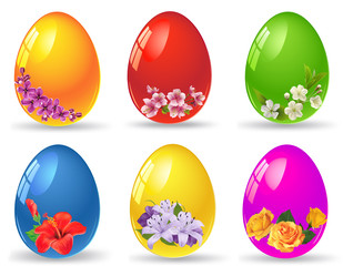 Set of Easter Eggs isolated on white.