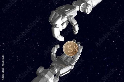 3D rendering , Robot hands send bitcoin to other robot hand