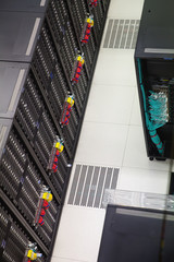 View from above on equipment of data center