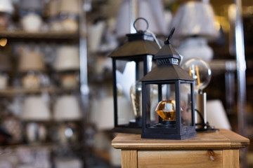 Photo of  table lamp in furniture store.