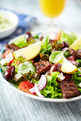 Salad with Grilled Beef Pieces