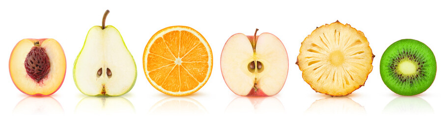 Canvas Prints Fruits Isolated fruits halves. Cut peach, pear, orange, apple, pineapple and kiwi in a row isolated on white background with clipping path
