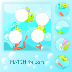 Compliance with children's educational game. Match of the education. Colorful fish swim blue background with bubbles