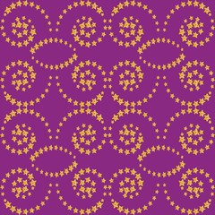 Vector abstract seamless lilac background with a yellow pattern of stars. Holiday, fabric, leather, wallpaper, decoration.