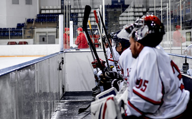 Hockey players on the bench