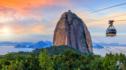 Wall Mural - Cable car and  Sugar Loaf mountain