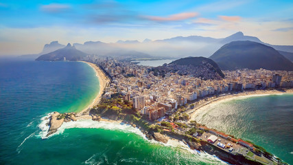 Wall Mural - Aerial view of famous Copacabana Beach and Ipanema beach