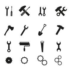 Set of tools black icons