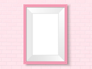 Frame on brick wall pink interior template vector