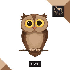 A cute owl sits on a branch. Vector illustration from wild animals series. A picture for children's educational books, for a print on a T-shirt or your design.