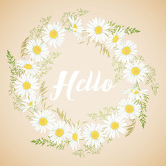 Cute card with Chamomile flowers wreath.