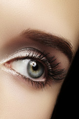 Beautiful female eye with extreme long eyelashes, black liner makeup. Perfect make-up, long lashes. Closeup fashion eyes