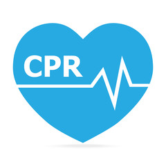 CPR, Cardiopulmonary resuscitation blue icon.