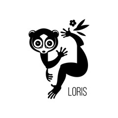 Black drawing, logo or icon of a wild nocturnal eyed animal lemurs Lori, who can be a pet sitting on a branch of a tropical tree. Silhouette, engraving, vector, isolated on background for design.
