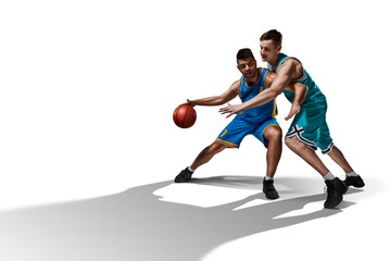 two basketball players gameplay isolated on white