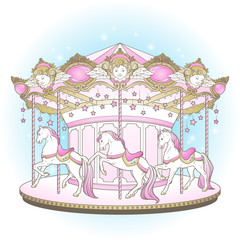Carousel La Belle Epoque cute merry go round with horses design for kids in pastel colors hand drawn vector illustration