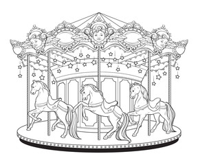 Carousel La Belle Epoque cute merry go round with horses coloring book pages for kids and adults hand drawn vector illustration