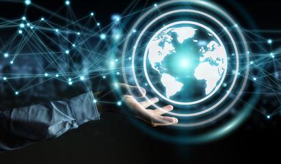 Businessman using planet earth network sphere 3D rendering