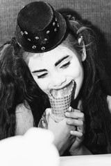 little girl meme eating ice cream in coffee