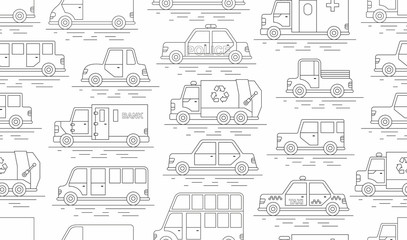 car seamless pattern. Linear style. Vector illustration