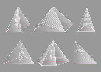 3d basic shapes. Collection of pyramids. Cross-section.