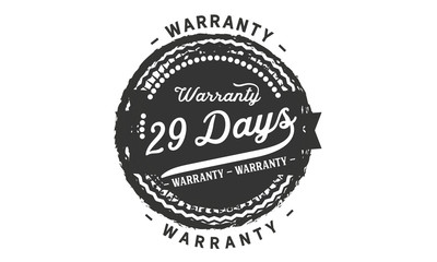 29 days warranty icon vintage rubber stamp guarantee