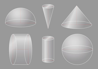 3d basic shapes. Sphere, hemisphere, cone, cylinder. Rotating figures.