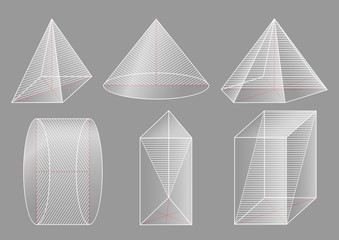 3d basic shapes. Prism, pyramid, cone, cylinder. 	