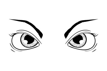 Angry eyes. Hand drawn sketch