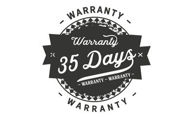 35 days warranty icon vintage rubber stamp guarantee