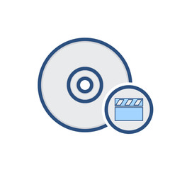 Compact disk drive movie storage video icon