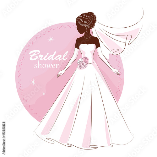 Bridal shower invitation Young beautiful bride is in an elegant