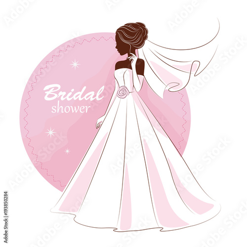 Bridal shower invitation. Young beautiful bride is in an elegant ...
