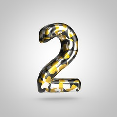 Camouflage number 2 with golden, silver and black camouflage pattern isolated on white background.