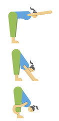 girl is engaged in stretching,physical exercise and warming up of muscles,vector image, cartoon character, flat design