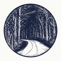 Snowy winter road tattoo. Empty snow covered road tattoo. Symbol of harmony, tranquility, beautiful winter landscape, romantic print t-shirt design