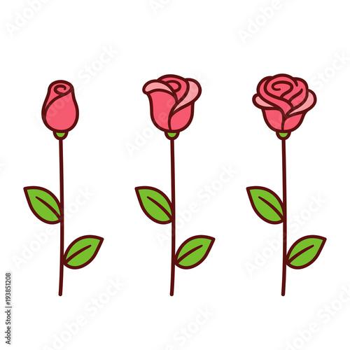 Cartoon Rose Set Stockfotos Und Lizenzfreie Vektoren Auf Fotolia