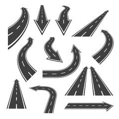 Arrow road set. Road arrows with white markings, an illustrations  in a form of various turns, directions and perspectives. Nice arrow alike road themed vector design elements isolated on white.