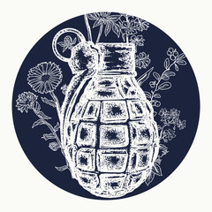 Grenade tattoo and t-shirt design. Rusty grenade tattoo. On the grenade flowers grow. Symbol of weapon, war and peace, good and evil