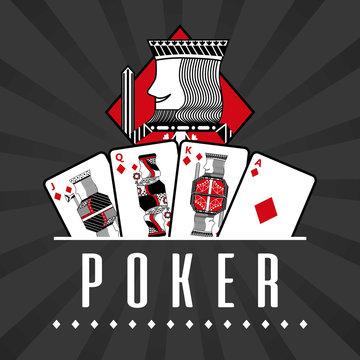 deck of card casino poker king diamond black rays background vector illustration
