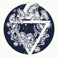 Magic flowers in a triangle tattoo art. Symbol of art, freedom, astronomy, mysterious knowledge tattoo. Graceful flowers in mystical triangle t-shirt design