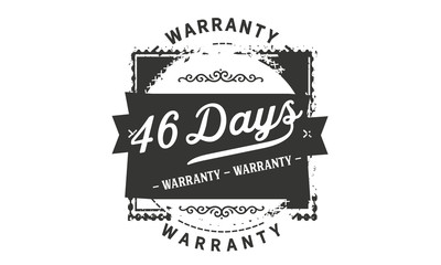46 days warranty icon vintage rubber stamp guarantee