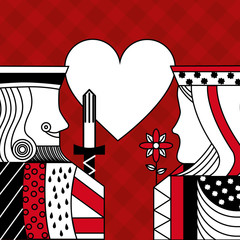 casino poker queen and king heart card game red checkered background vector illustration