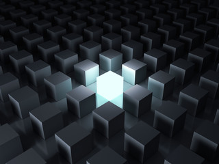 Stand out from the crowd and different creative idea concepts , One glowing light cube shining among other dim cubes in the dark night background with reflections and shadows . 3D rendering. Wall mural