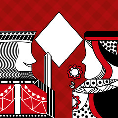casino poker queen and king diamond card game red checkered background vector illustration