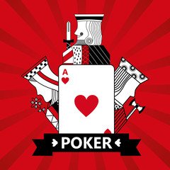 heart ace jack king and queen cards playing poker red  background vector illustration