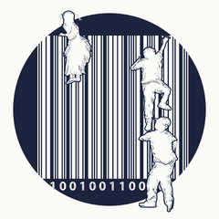 Bar code tattoo. Children climb over fence. Bar code street art. Creative t-shirt design.Symbol of freedom and slavery, consumer society, globalization, future of mankind, digital world, big brother